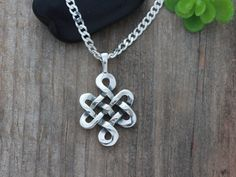 Sterling Silver Celtic Knot Knot Necklace by LifeOfSilver on Etsy