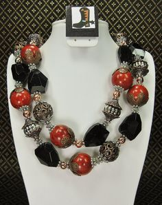 CHUNKY COWGIRL NECKLACE  Black Glass / Red by CayaCowgirlCreations, $62.50