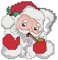 Santa Christmas Ornament - Christmas cross stitch pattern designed by Bennie Harman. Santa Cross Stitch, Cross Stitch Tree, Cross Stitch Charts, Cross Stitch Designs, Cross Stitch Christmas Ornaments, Christmas Cross, Santa Christmas, Santa Ornaments, Christmas Stockings