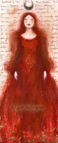 """1er día del ciclo, es el primer día de nuestra menstruación. El equilibrio entre la luna oscura y la luna nueva.  """"menstrual goddess""""   ~Neyrelle on deviantART"""