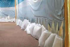 Some simple white fabric can be used to create a billowed snow look along your hallways. Learn more about Everest VBS by visiting http://www.group.com/everest. #EverestVBSDecorating #EverestVBS2015