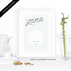 "Lámina Infantil ·Luna· Esta preciosa lámina infantil, con una dulce luna y el mensaje ""I love you to the moon and back"" es ideal para la habitación de los peques de la casa.  El fondo está disponible en dos colores: Azul y rosa.  http://laucreativashop.bigcartel.com/product/lamina-infantil-luna"