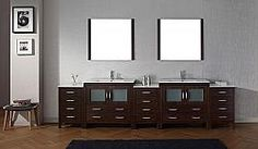Avant Styles Dior 126 Inch Double Bath Vanity in Zebra Grey with Aqua Tempered Glass Top and Square Sink with Brushed Nickel Faucet and Mirrors Engineered Stone Countertops, Glass Countertops, Double Bath, Brushed Nickel Faucet, Square Sink, Modern Vanity, Modern Bathroom, Vanity Set With Mirror, Grey Cabinets