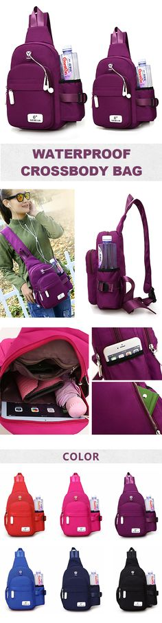US$14.68 Women Nylon Daily Crossbody Bag Waterproof Durable Chest Bag Shoulder Bag