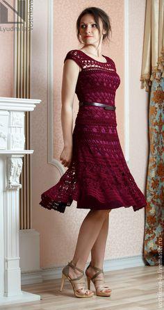 """Купить Юбка """"Лилия Ландини"""" - бордовый, однотонный, юбка, юбка летняя, юбка вязаная"""