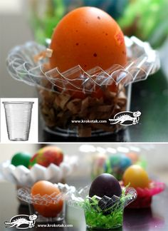 Plastic Cup and Container EGG STANDS on Krokotak. I think it would work for waxed paper cups and cartons, too.