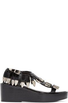 Toga Pulla - Black Fringed Leather Sandals