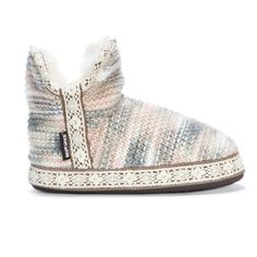Marl knit slipper bootie with a faux fur interior and outer lace decorative lining.