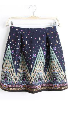 High waist retro print skirt blue
