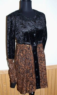 Black and Gold Velvet and Lace Coat/Dress from The #Gypsy Cottage on #Artfire.com