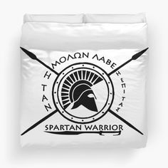 'Spartan warrior - Molon lave and come back with your shield or on it' Duvet Cover by augustinet Warrior Outfit, Spartan Warrior, College Dorm Bedding, Duvet Insert, Duvet Covers, Bedroom Decor, Mugs, Prints, Clothes