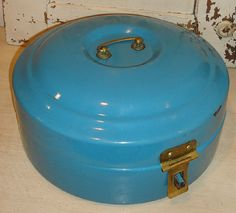 Rare Vintage French Blue Enameled Round Bread Box  ~  Brass Handle