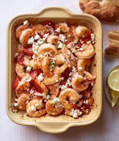 Garlicky roasted shrimp with red peppers and feta