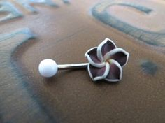 Dark Purple Hawaiian Flower Plumeria Belly Button by Azeetadesigns