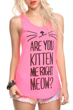 ef221749e13682 Are You Kitten Me Girls Tank Top