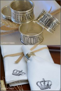 """We invite you to place our """"GIVE THANKS"""" stainless steel napkin rings on your table as a reminder to not only give and enact thanks, but to make it a daily practice to live in a spirit of gratitude, bringing a touch of heaven as you """"GIVE THANKS IN ALL THINGS GREAT & SMALL"""" Explore our entire collection of home decor, gifts and jewelry to lavish your heart, your soul and your home!"""