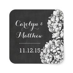Vintage Chalkboard Hydrangea Wedding Favor 2 Square Sticker