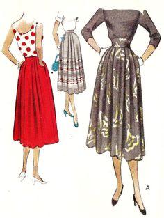 1950s Misses Skirt Vintage Sewing Pattern