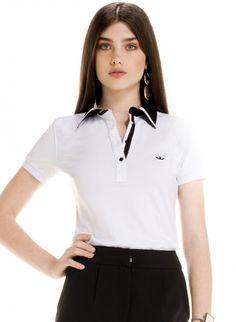 5c0b8c08c0 blusa polo branco social feminina principessa juciara look Blusa Polo  Feminina