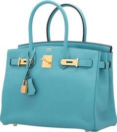 hermes mykonos blue clemence leather 35cm birkin bag shw new