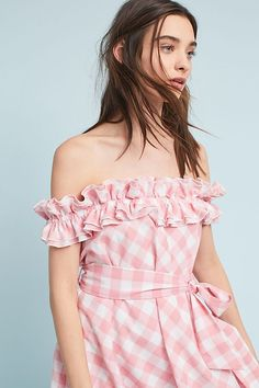 Slide View: 3: Gingham Off-The-Shoulder Mini Dress