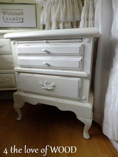 4 the love of wood: shabby chic white bedside drawers
