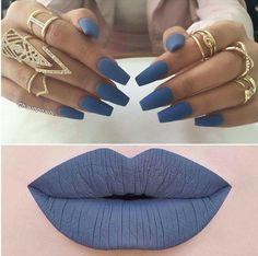 Matte Blue Nails & Lips More