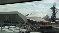 This is Olympic Park in London where the aquatic center is.