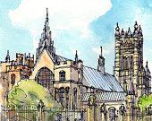 London Bridge Street Big Ben art print from an original watercolor painting Watercolor Paintings, Original Paintings, Big Ben London, London Skyline, Things To Do In London, Westminster Abbey, London Bridge, Urban Sketching, Art Prints