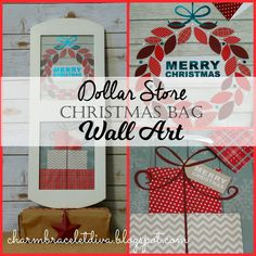 How to make affordable Christmas wall art out of Dollar Store gift bags.
