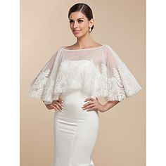 Beautiful Lace Evening/Wedding Puncho (More Colors) – USD $ 67.89