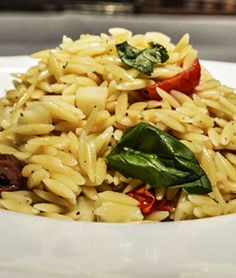 Loi Pasta Kritharaki Orzo with Cherry Tomatoes, Olives, and Pine Nuts