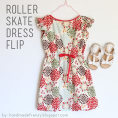 Handmade Frenzy: Roller Skate Dress Flip - TUTORIAL (use sleeveless dress pattern and add shoulder ruffle) Sewing Kids Clothes, Sewing For Kids, Baby Sewing, Free Sewing, Sewing Diy, Sewing Pants, Skirt Sewing, Diy Clothing, Clothing Patterns