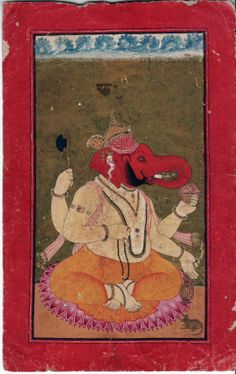 Ganesha on a lotus throne. undated Indian miniature painting