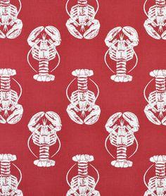 Premier Prints Lobster Timberwolf Red Macon Fabric - $6.3487 | onlinefabricstore.net