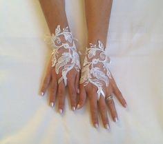 Braut Handschuhe Hochzeit Handschuhe Ivory Spitzen von GlovesByJana