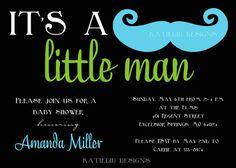 Baby boy shower invitation mustache