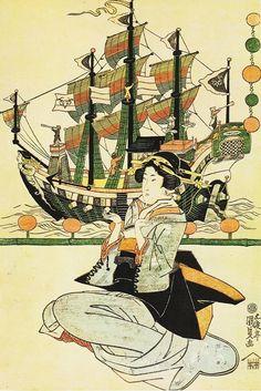 美人画の背景にギヤマン細工の異国船(拡大画像)