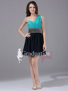 Black Blue Simple Chiffon Short A-Line One Shoulder Graduation Dress - US$ 93.99 - Style G0220 - Graduation Girl