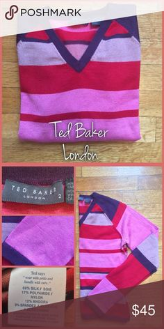 Ted Baker Sweater Ted Baker London, size 2, in beautiful, like new condition. This silk blend sweater is the softest sweater you've ever worn. •I'm open to offer on all items!• Ted Baker Sweaters Crew & Scoop Necks