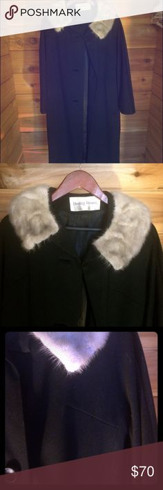 Vintage 50s wool / fur full length coat Bought this at a vintage boutique. Only worn several times. Missing top button but I never buttoned that one anyways so not a big deal to me. Really makes a statement for a fancy event! This is a warm/heavy coat. Vintage Jackets & Coats
