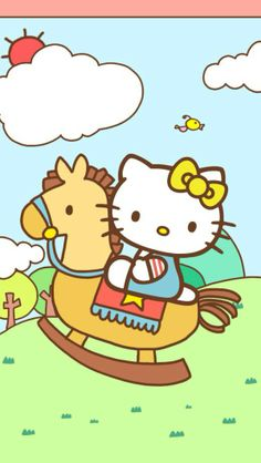 Hello rocking horseTap the link to check out great cat products we have for your little feline friend! Sanrio Hello Kitty, Hello Kitty My Melody, Hello Kitty Items, Hello Kitty Backgrounds, Hello Kitty Wallpaper, Sanrio Wallpaper, Sanrio Characters, Cute Characters, Hello Kitty Imagenes