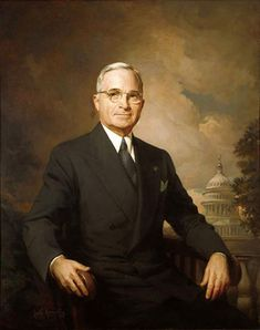 Official White House Portrait of Harry S. Truman ~ 33rd President of the United States. (Term: 1945-1953).  Three months after Truman's inauguration as vice-president, President Franklin Roosevelt died.  On April 12, 1945, Harry S. Truman took the president's oath of office making him the 33rd President of the United States.  Notable events include the Civil Rights Act of 1948, the Berlin Crisis and Airlift, the Marshall Plan, the Truman Doctrine and the beginning of the Cold War.