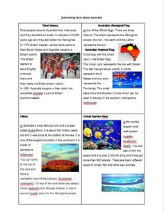 Interesting facts about Australia Reading Comprehension - My Reading Kids Kids Reading, Teaching Reading, Learning, Facts About Australia, Reading Material, Reading Comprehension, Phonics, Fun Facts, Words