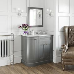 The Bath Co. Chartham slate matt grey left handed floorstanding vanity unit and white marble basin Small Bathroom Furniture, Farmhouse Bathroom Mirrors, Modern Bathroom Mirrors, White Marble Bathrooms, Bathroom Inspo, Bathroom Ideas, White Vanity Unit, Corner Vanity Unit, Vanity Units