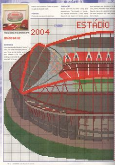 Estadio Da Luz partie 1 Cross Stitching, Diy, Portugal, Tennis, Places, People, Stadium Of Light, Cross Stitch Bird, Newspaper