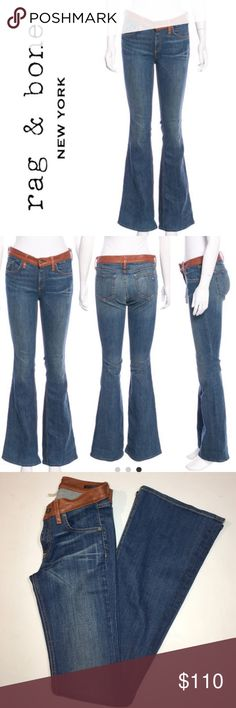 "Rag & Bone Elephant Bell Lamb Leather Waist Jeans Beautiful Jeans with Luxurious Lamb Leather Waist Trim!!! ✔️Denim is 98% Cotton/2% Polyurethane ✔️Waist Band is 100% Lamb Leather ✔️Inseam: 34.5"" ✔️Flare Leg ✔️Excellent Used Condition rag & bone Jeans"