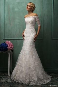 wedding dress off the shoulder lace top - Google Search