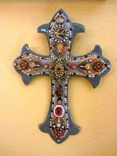 Decorative Wall Cross Gothic Amber Ruby Cross Victorian fleur de lis Vintage Inspired OOAK Hand Crafted Custom Made OOAK Wall Art Wall Decor