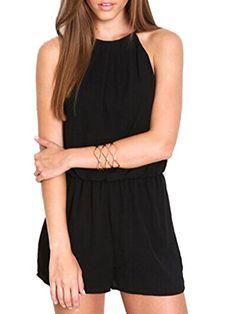 Choies-Womens-Black-Cut-Away-Plain-Sleeveless-Halter-Romper-Playsuit-jumpsuit-0